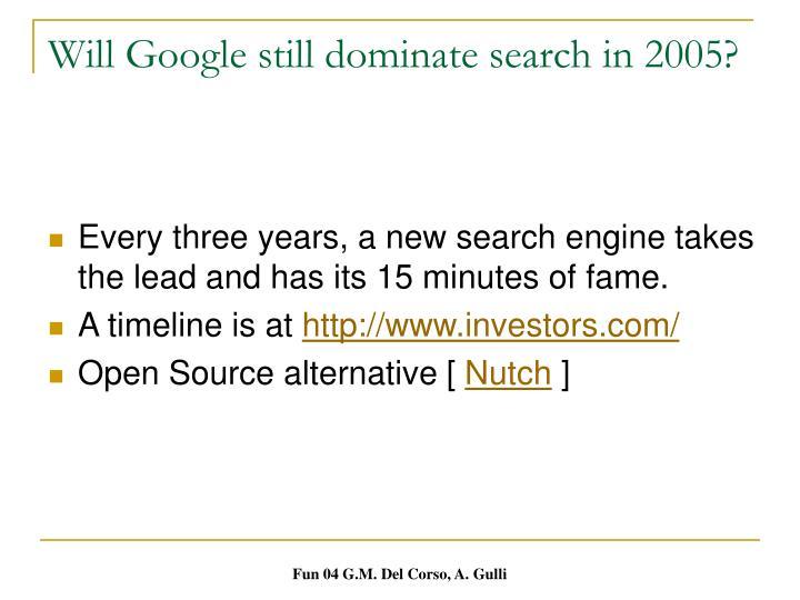 Will Google still dominate search in 2005?