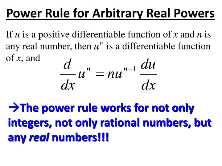 Power Rule for Arbitrary Real Powers