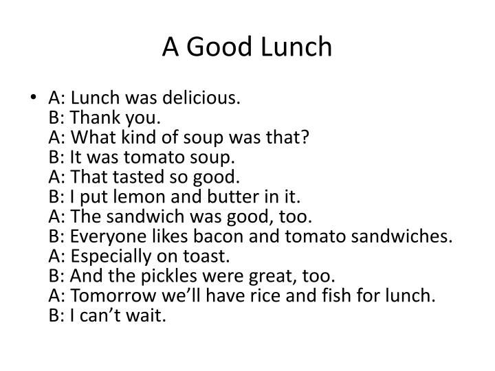 A Good Lunch