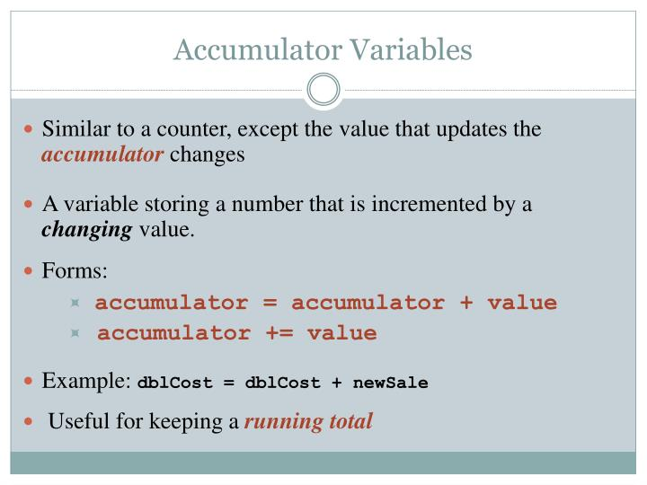 Accumulator Variables