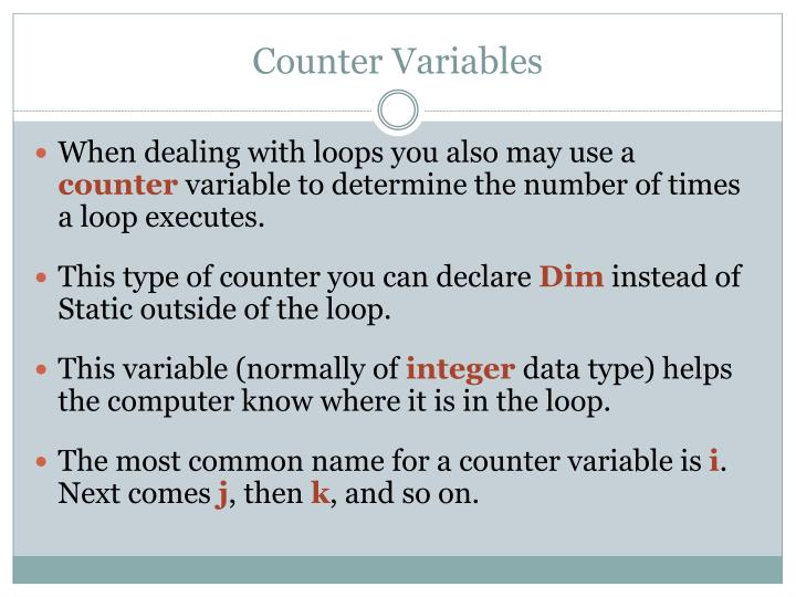 Counter Variables