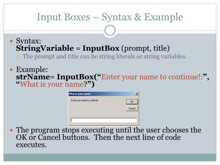 Input Boxes – Syntax & Example