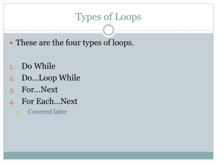 Types of Loops