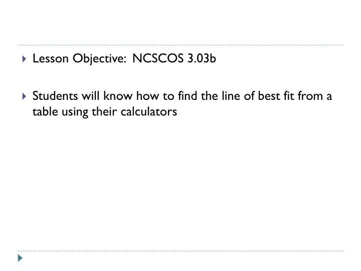 Lesson Objective:  NCSCOS 3.03b