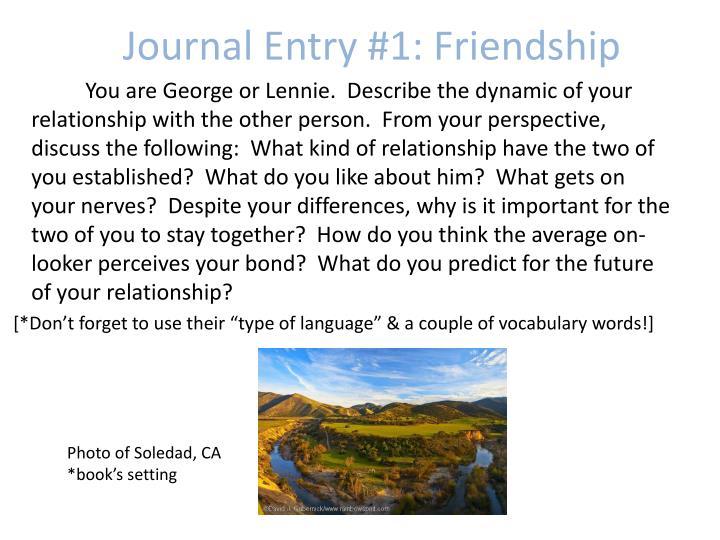 Journal Entry #1: Friendship