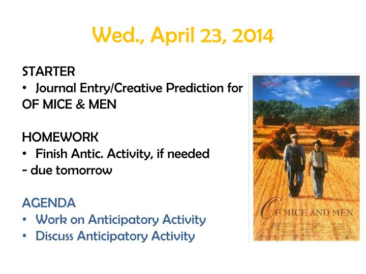 Wed., April 23, 2014