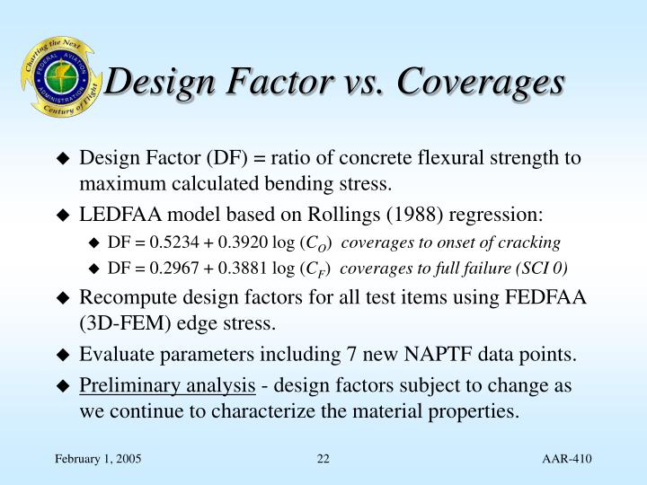 Design Factor vs. Coverages