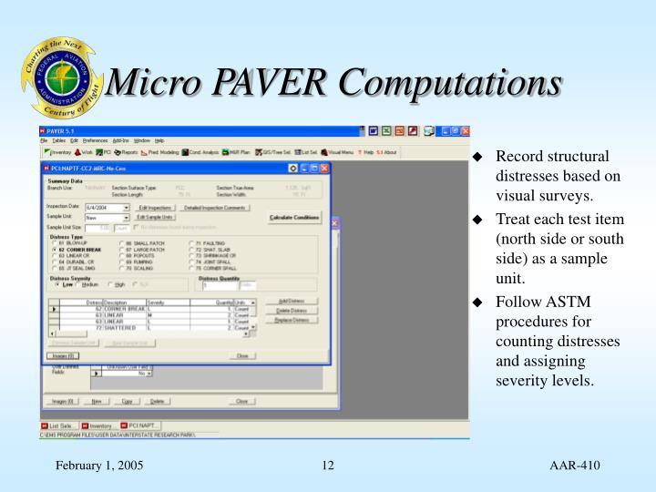 Micro PAVER Computations