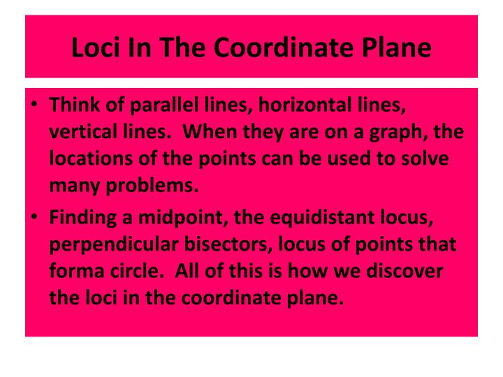 Loci In The Coordinate Plane