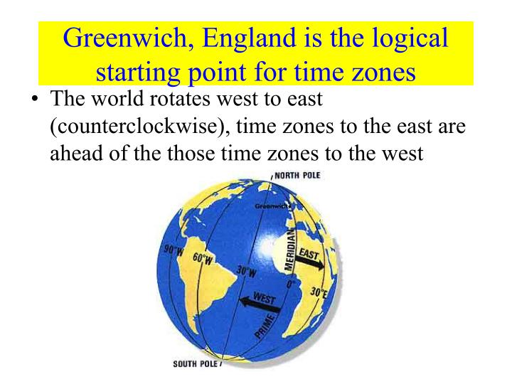 Greenwich, England is the logical starting point for time zones