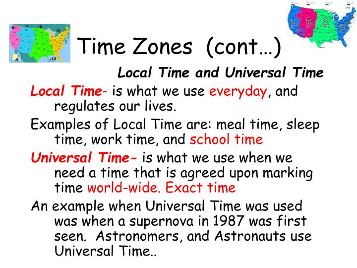 Time Zones  (cont…)
