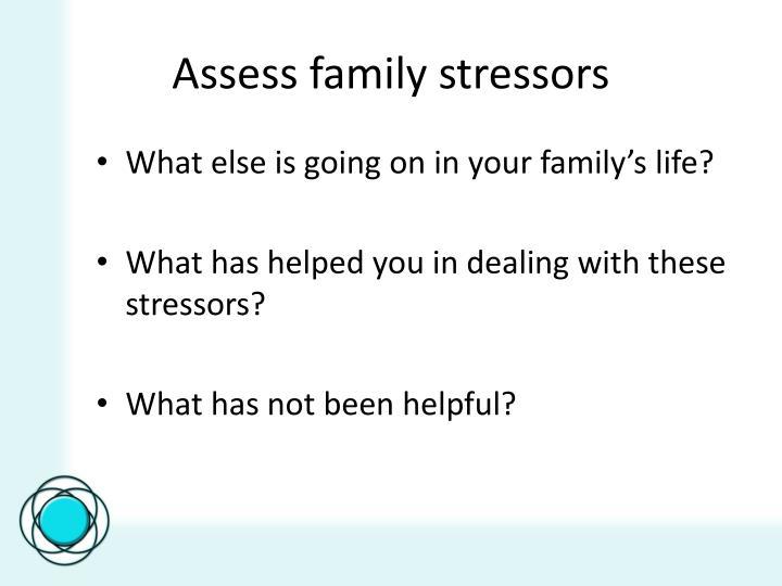Assess family stressors