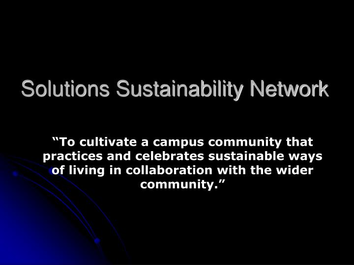 Solutions Sustainability Network