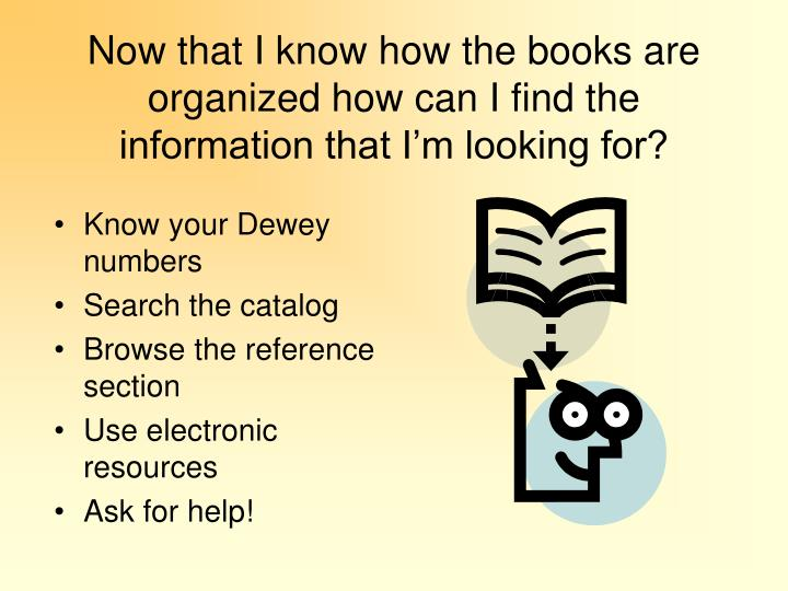 Now that I know how the books are organized how can I find the information that I'm looking for?