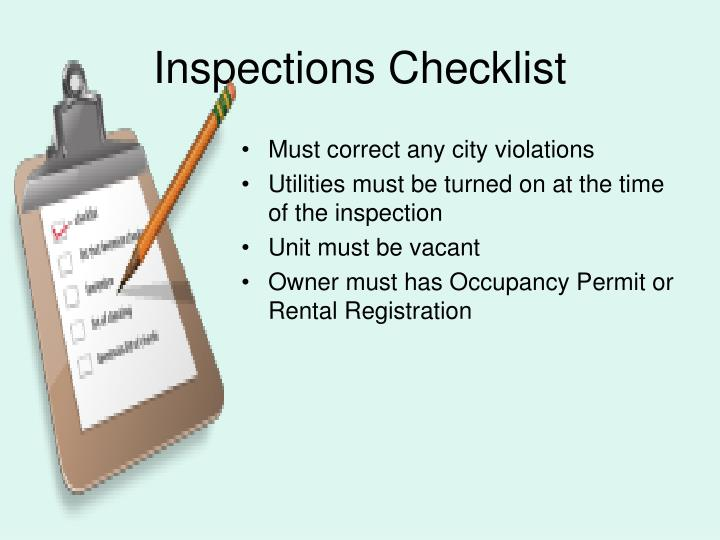 Inspections Checklist