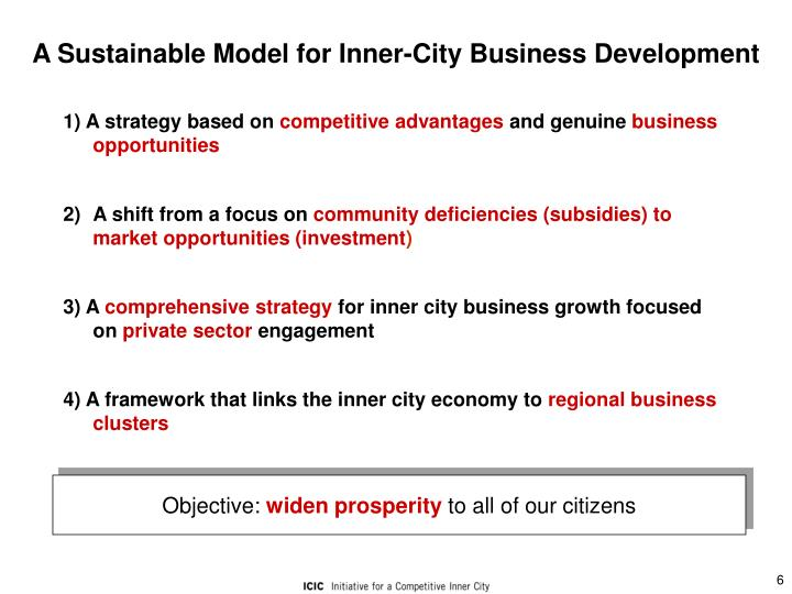 A Sustainable Model for Inner-City Business Development