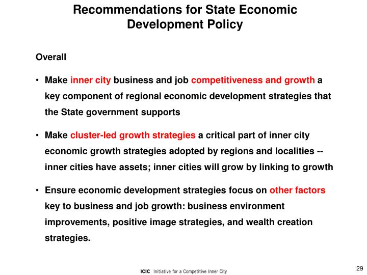 Recommendations for State Economic Development Policy