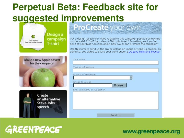 Perpetual Beta: Feedback site for suggested improvements