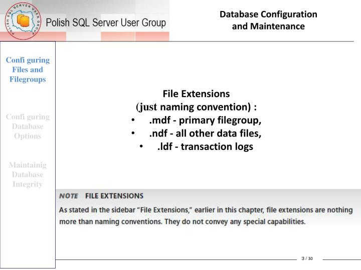 Database configuration and maintenance2