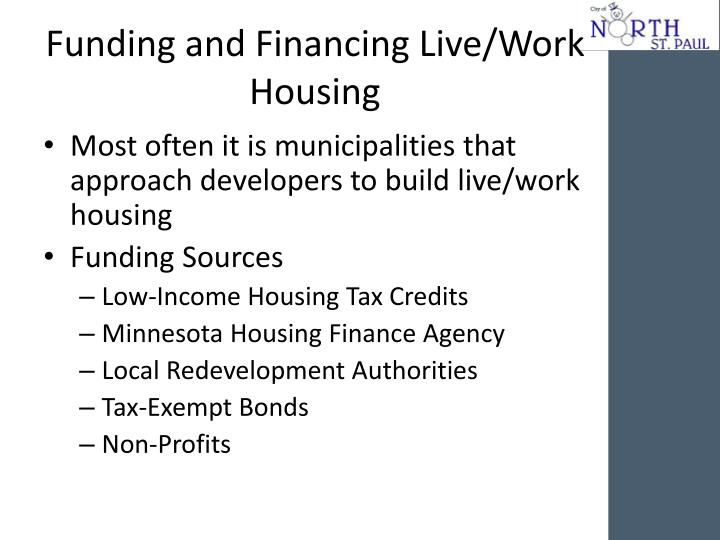 Funding and Financing Live/Work Housing