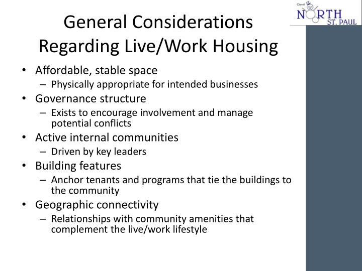 General Considerations Regarding Live/Work Housing