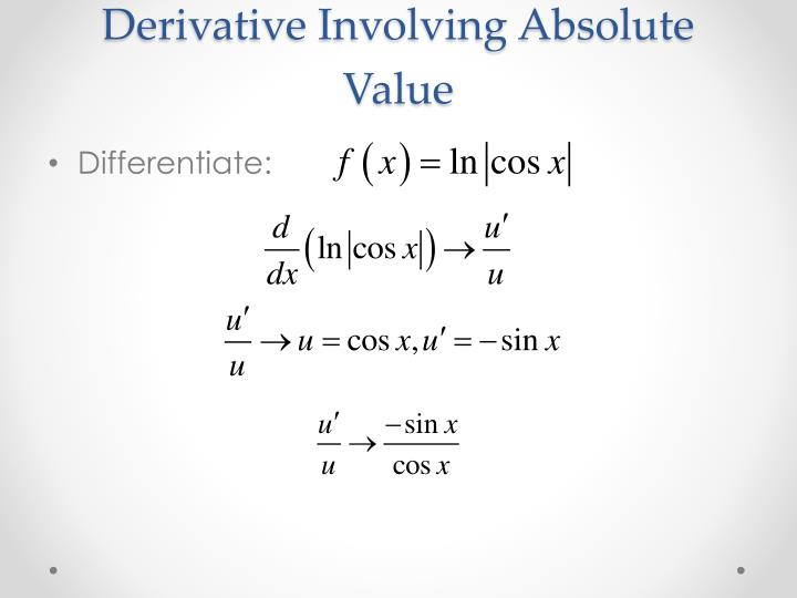 Derivative Involving Absolute Value