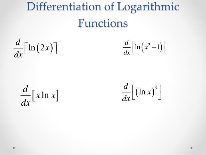 Differentiation of Logarithmic Functions