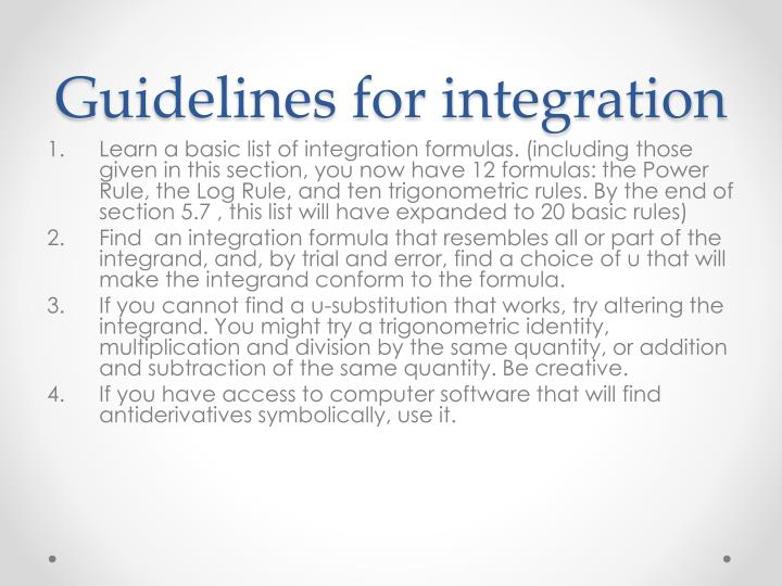 Guidelines for integration
