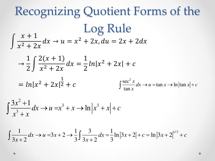 Recognizing Quotient Forms of the Log Rule