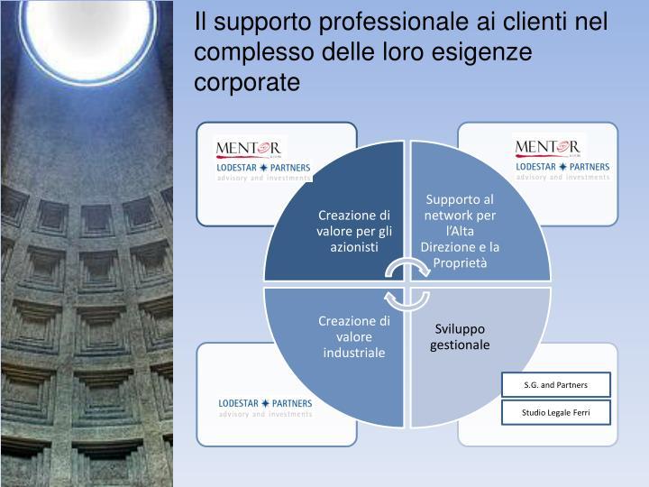 Il supporto professionale ai clienti nel complesso delle loro esigenze corporate