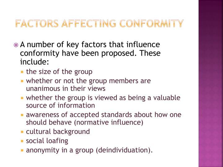 Factors affecting conformity
