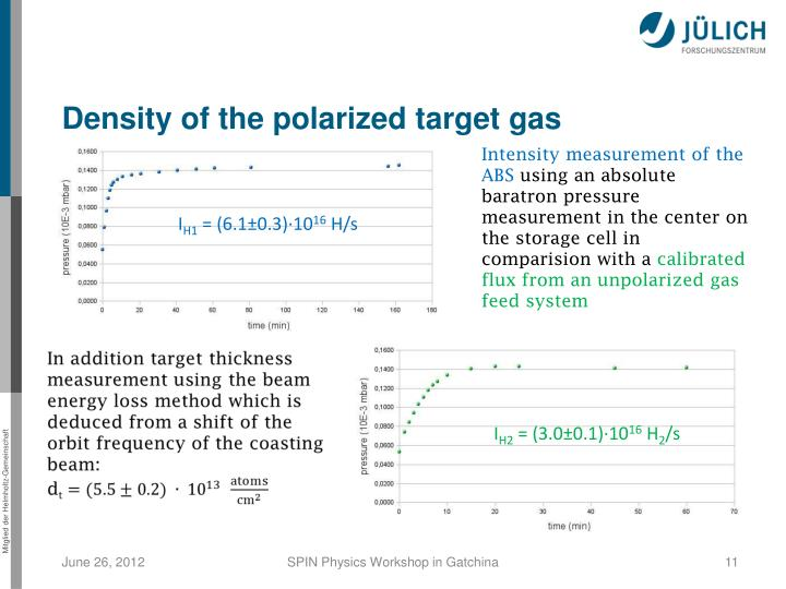 Density of the polarized target gas