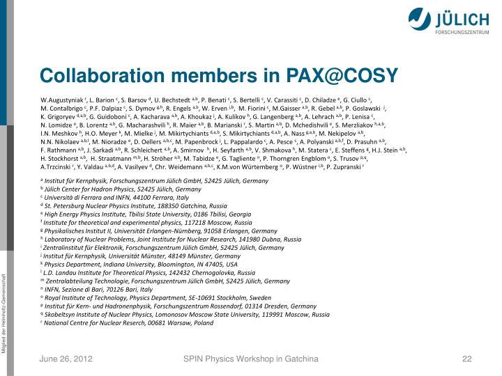 Collaboration members in PAX@COSY