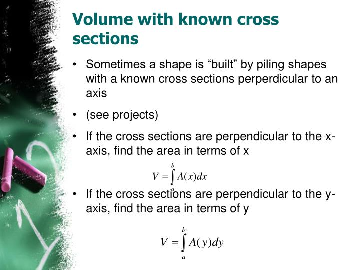 Volume with known cross sections
