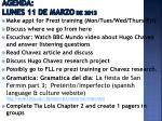 agenda lunes 11 de marzo de 2013