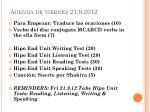 agenda de viernes 21 9 2012
