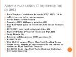 agenda para lunes 17 de septiembre de 2012