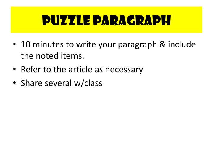 Puzzle Paragraph