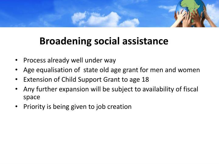 Broadening social assistance