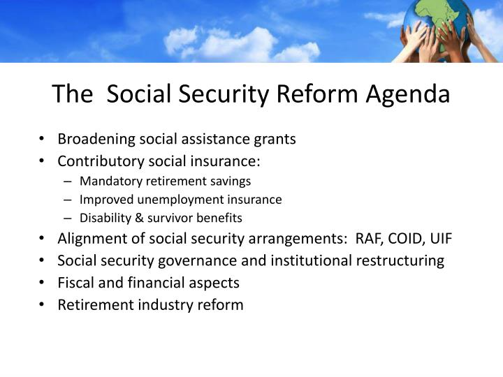 The social security reform agenda