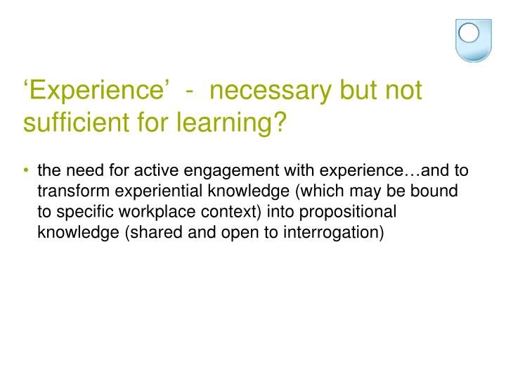 'Experience'  -  necessary but not sufficient for learning?