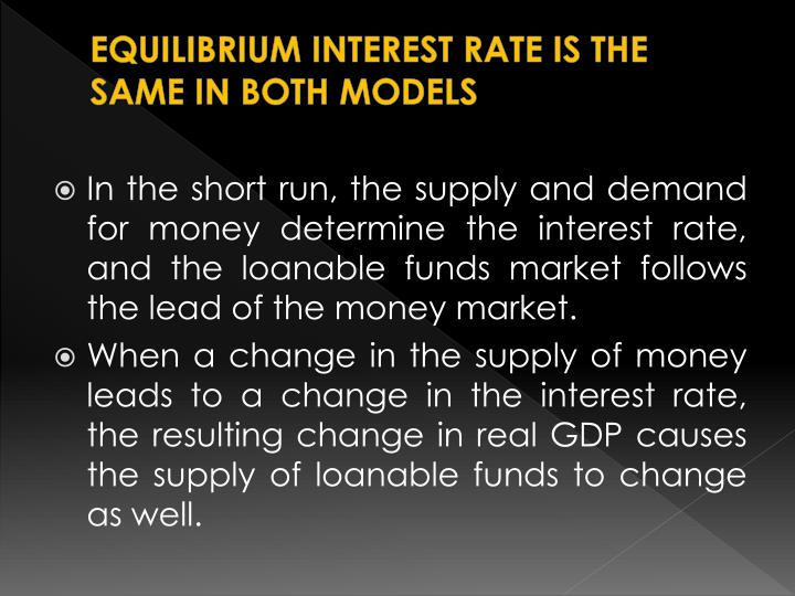 EQUILIBRIUM INTEREST RATE IS THE SAME IN BOTH MODELS