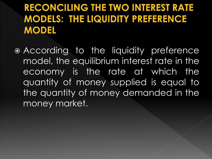 RECONCILING THE TWO INTEREST RATE MODELS:  THE LIQUIDITY PREFERENCE MODEL