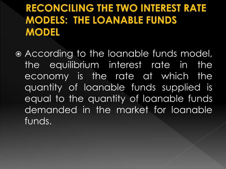 RECONCILING THE TWO INTEREST RATE MODELS:  THE LOANABLE FUNDS MODEL