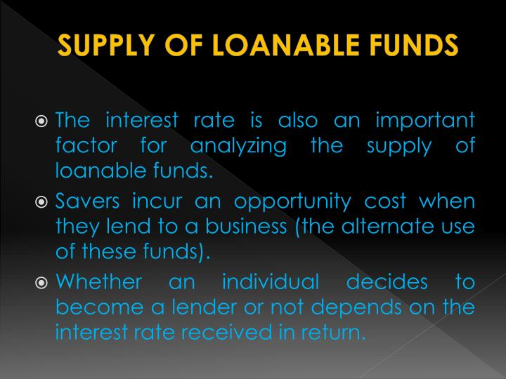 SUPPLY OF LOANABLE FUNDS