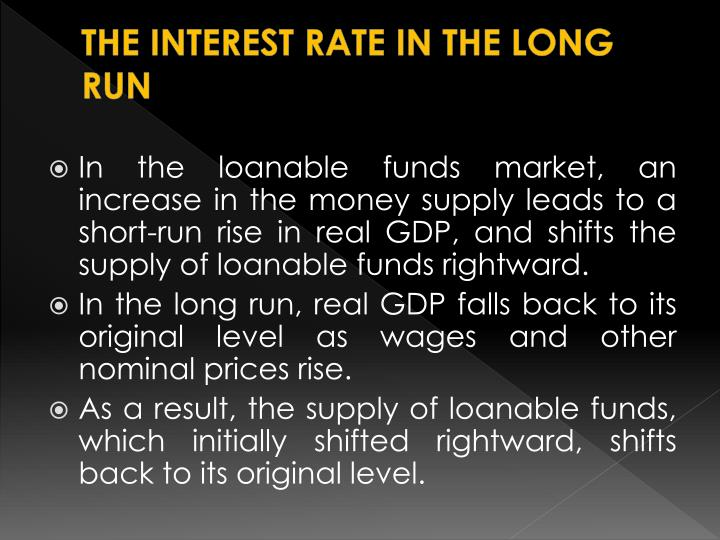 THE INTEREST RATE IN THE LONG RUN
