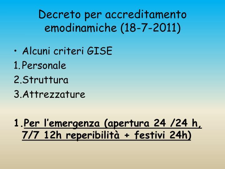 Decreto per accreditamento emodinamiche (18-7-2011)