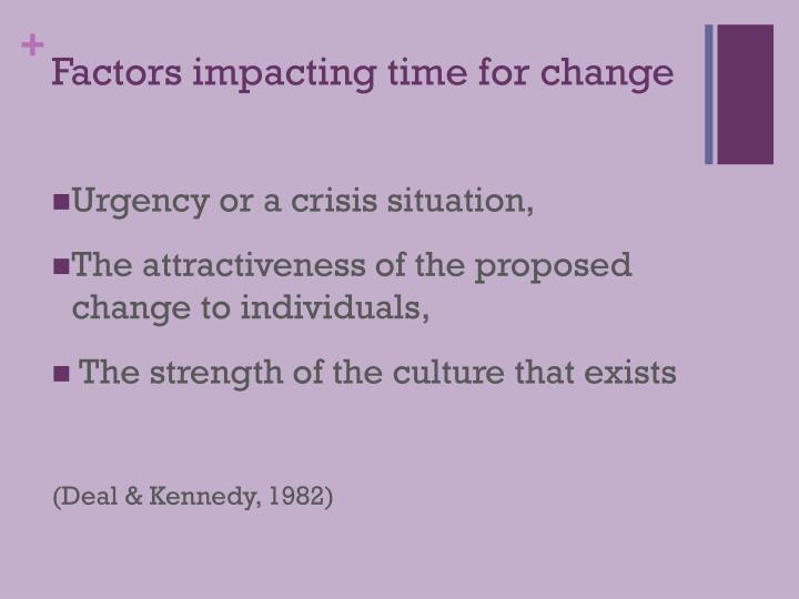 Factors impacting time for change