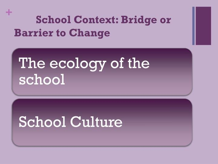 School Context: Bridge or Barrier to Change