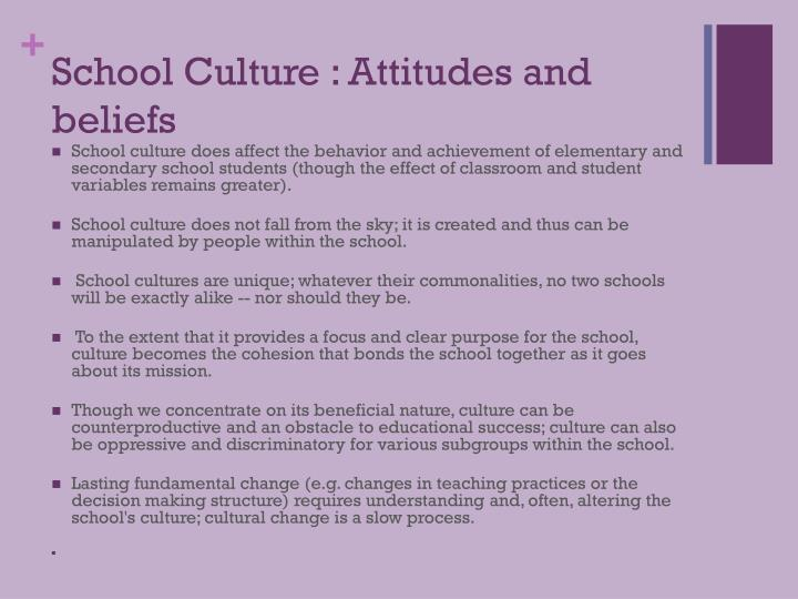 School Culture : Attitudes and beliefs